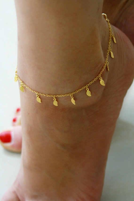 繊細な金箔アンクレット夏ビーチフットジュエリー ボディ チェーン リーフス足首チェーン脚ブレスレット
