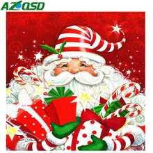 AZQSD Christmas Diamond Painting Santa Mosaic Cartoon Embroidery Full Set Rhinestones Pictures Home Decoration