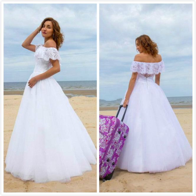 Empire Ball Gown Wedding Dresses: Empire White Lace Wedding Dresses 2016 A Line Strappless