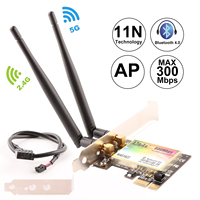 Ubit Wireless Dual Band 300Mbps PCI Express Adapter Network Card Wlan WiFi Adapter with Bluetooth 4.0 3.5dBi Antenna