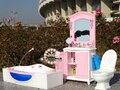 Бесплатная Доставка Девушка подарок на день рождения пластиковые Игровой Набор Мебели (+ Ванная Комната Туалет люкс + dDressing стол) аксессуары для куклы барби