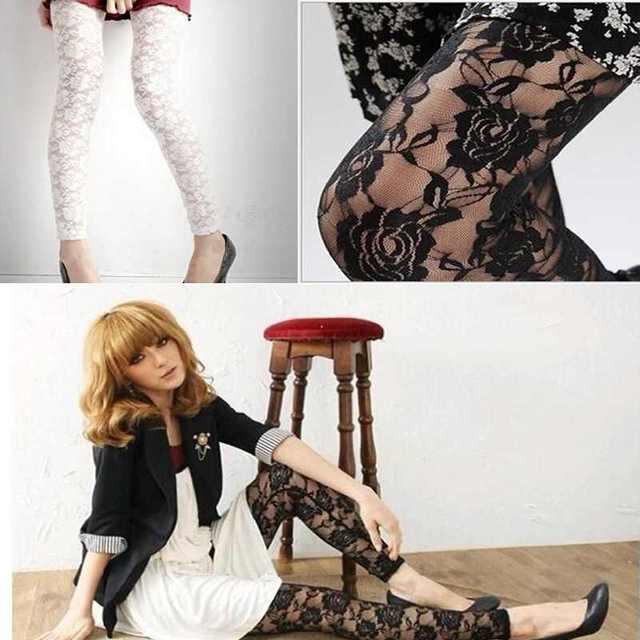 Sexy Women Lady Rose Lace Through Leggings Pants Footless