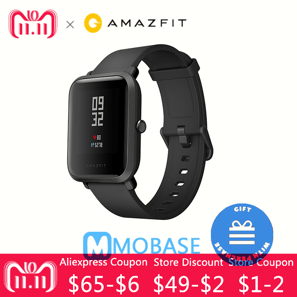 English Version Huami Amazfit Bip Pace Lite 100% Original Smart Watch Mi Fit Reflection Smartwatch Waterproof for Xiaomi [english version] xiaomi huami amazfit bip bit pace lite youth mi fit ip68 waterproof glonass smart watch gps english language