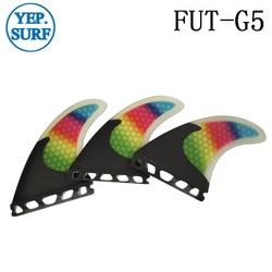prancha quilhas de Honeycomb Carbon Fiber FCS/Future Fins Fibreglass G5 Fins Tri Set Surf Fin Rainbow Fins Free Shipping