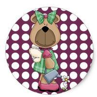 1.5inch Miss Honey Bear Sticker Round Purple