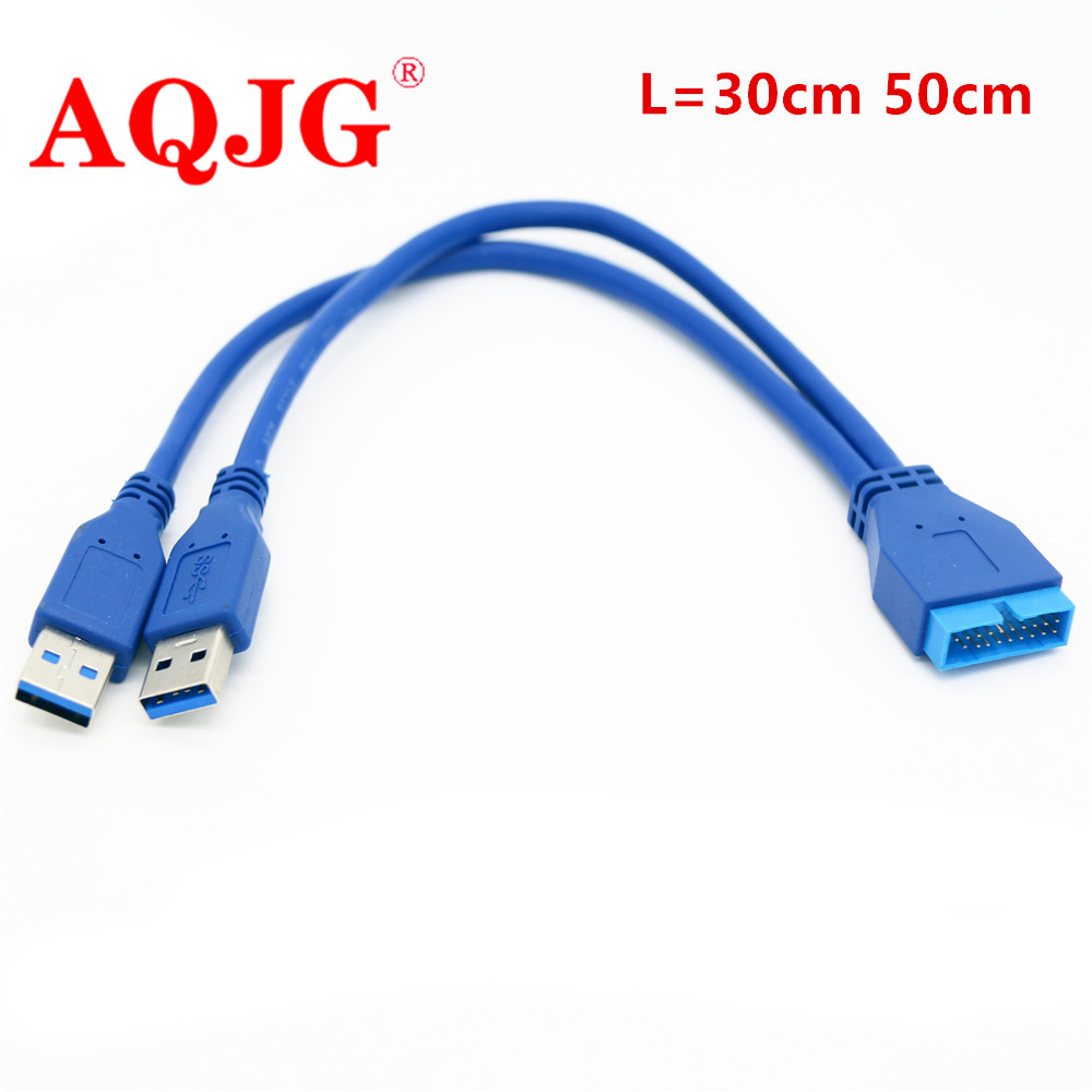 30cm 50cm Dual 2 Port USB3.0 <font><b>USB</b></font> 3.0 A Male to Motherboard Mainboard 20Pin Cable Adapter <font><b>19</b></font> <font><b>Pin</b></font> <font><b>USB</b></font> Extension cable AQJG image