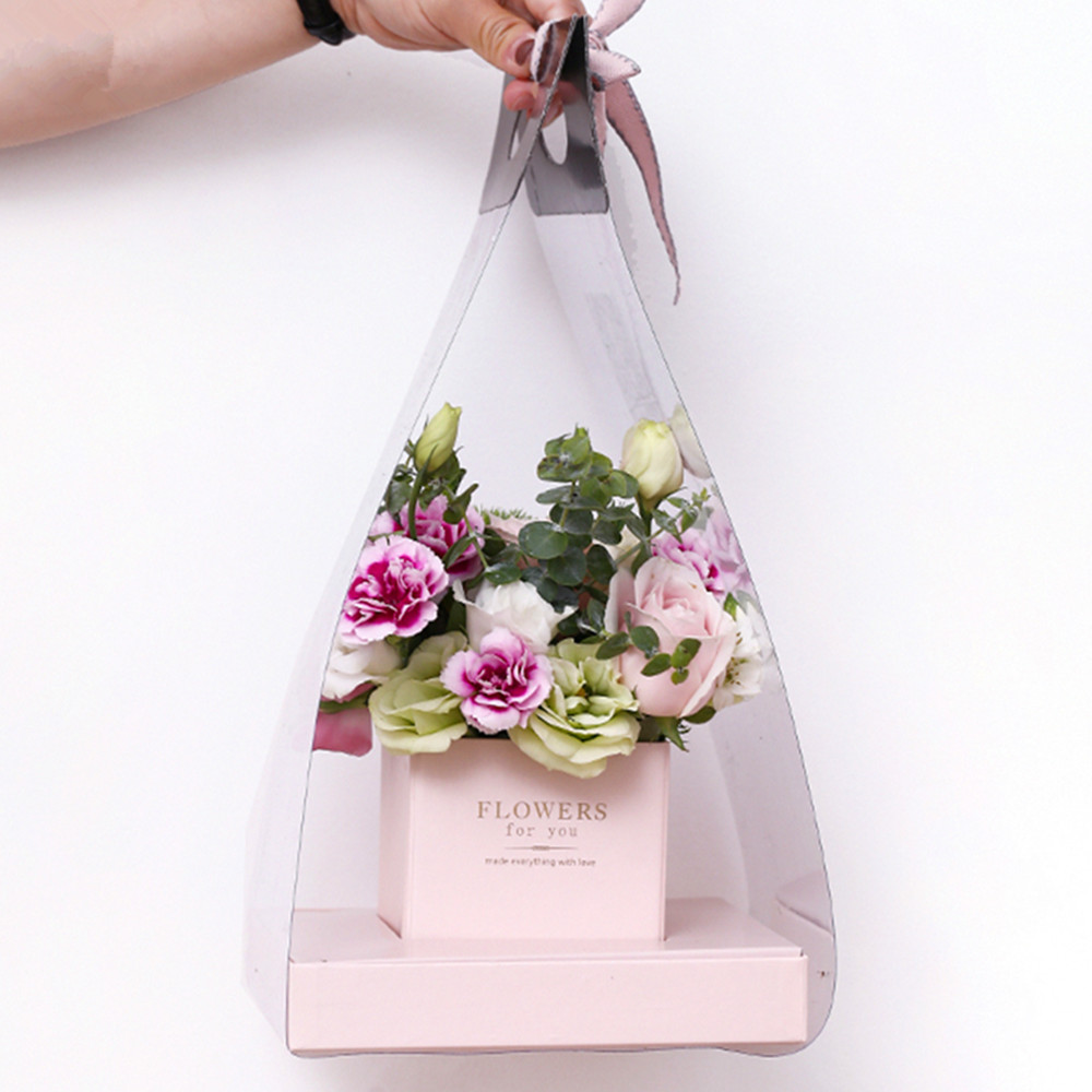 Aliexpress buy clear flower packaging bag handled florist aliexpress buy clear flower packaging bag handled florist bouquet gift paper boxes for wedding valentines day 412020 cm from reliable gift bags izmirmasajfo