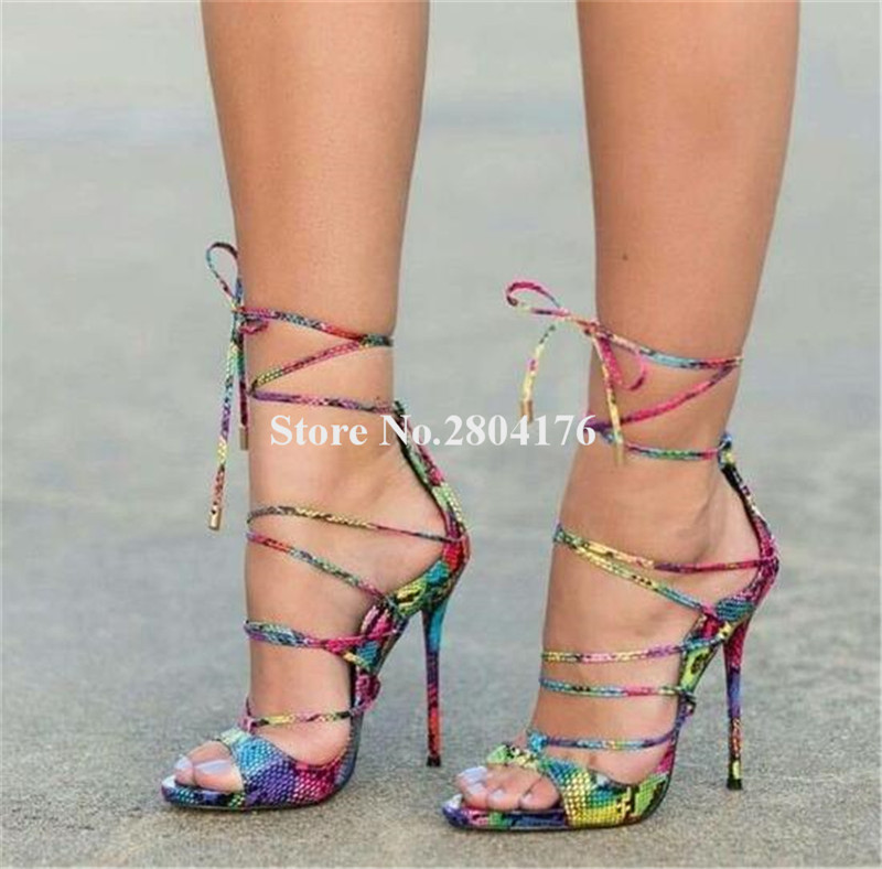 Women High Quality Open Toe Coloried Snake Leather Thin Heel Gladiator Sandals Lace up Colorful Straps High Heel Sandals