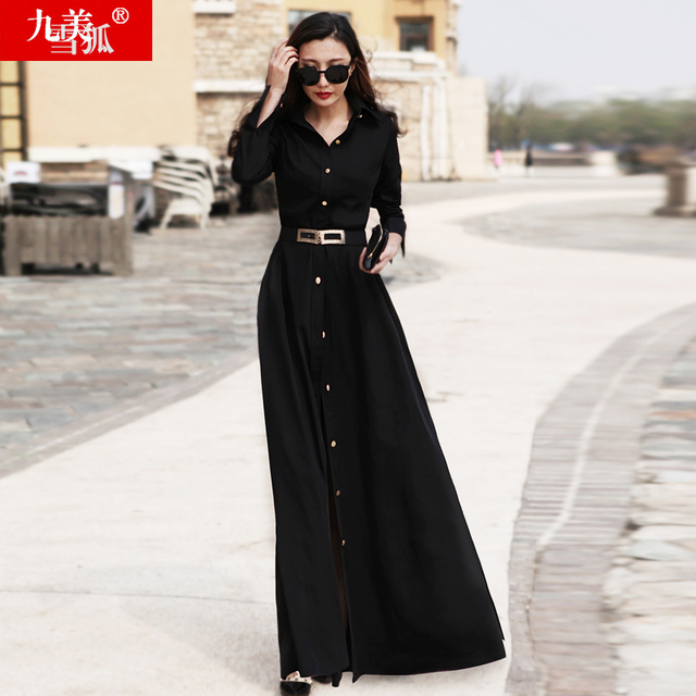 2017 spring elegant long-sleeve slim medium-long Turn-down Collar solid black one-piece dress women's clothing full dress Female