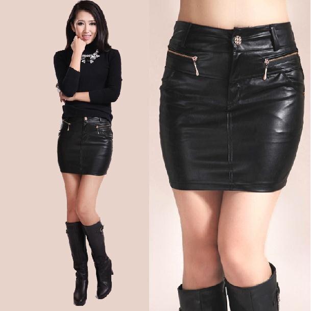 1c580ee19819 New 2016 Fashion spring Summer Women Girl Skirt Black PU Leather Mini Skirts  free shipping plus size 4XL