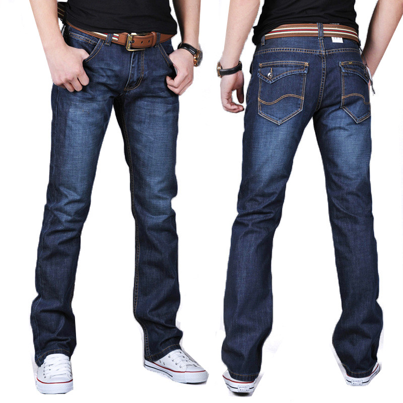 2017 Fashion Men's blue Straight Slim Casual Man jeans ...