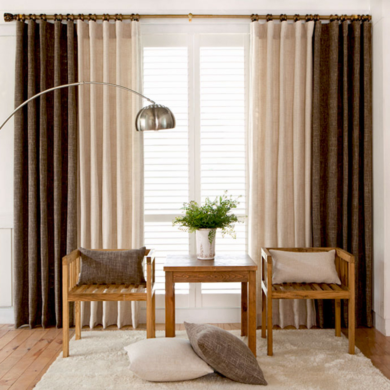 Elegant Color Block Thick Faux Linen Curtains for Living Room ...