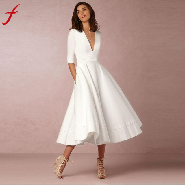Feitong Plus Size Vintage England Style Women Dress Long Ball Gown bodycon  V Neck Half Sleeve Ladies Party Swing Dress Vestidos e5c88ee00cce