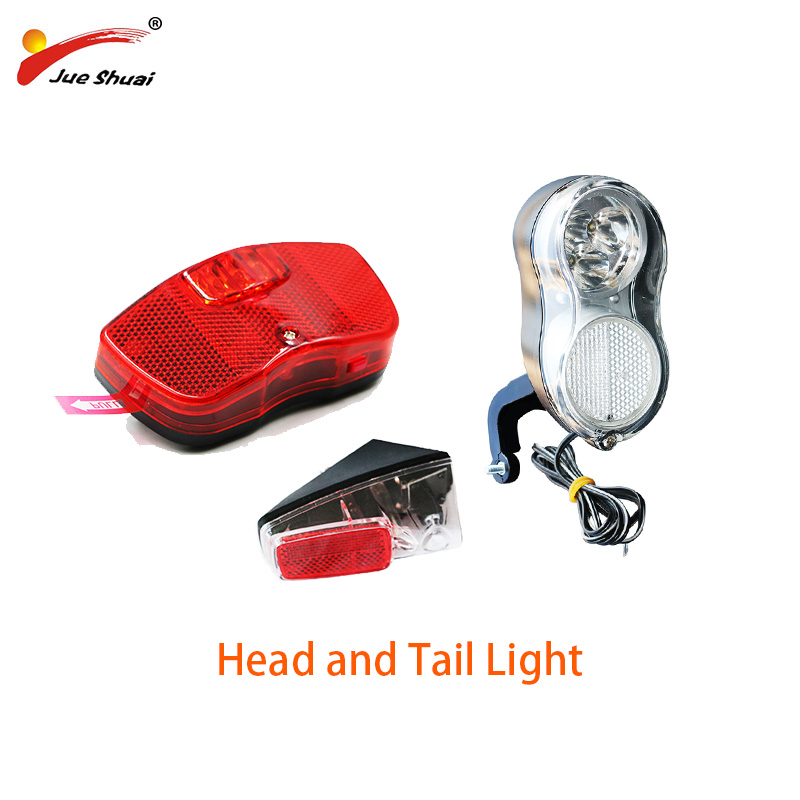36V 48V Universal E-bike Headlight With Horn Bicycle Bike Taillight Front Light Headlamp Rear Light Taillamp Bisiklet Aksesuar