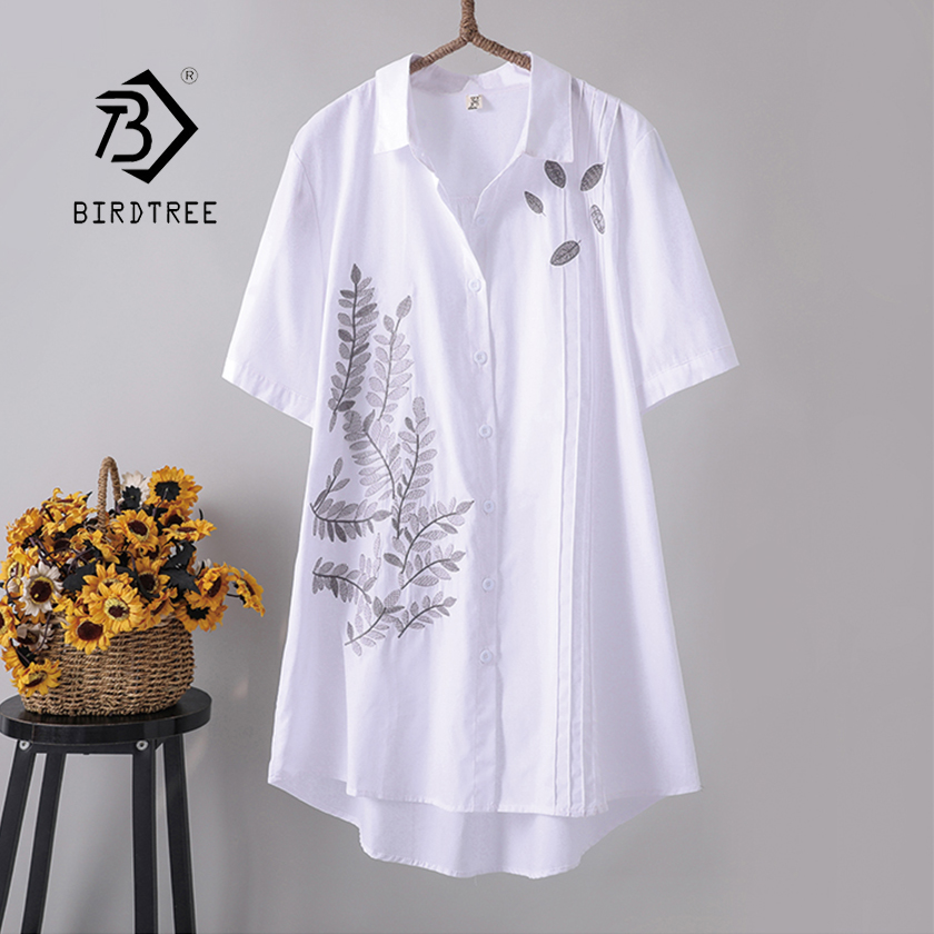 New Arrival Women Leaf Embroidery Long Cotton White Blouse Summer Short Sleeve White Female Shirt Turn-Down Collar Top T96402F