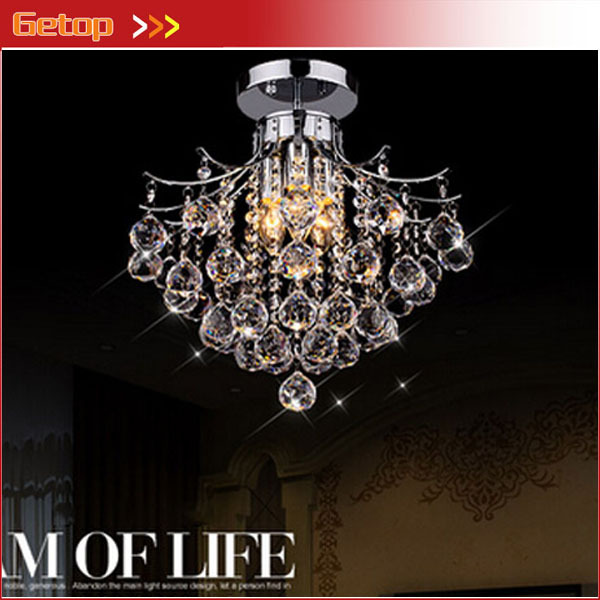 Best Price Crystal Chandelier With 3 Lights Mini Style Flush Mount Light Fixture For Bedroom Living Room D40 X H34cm In Chandeliers From