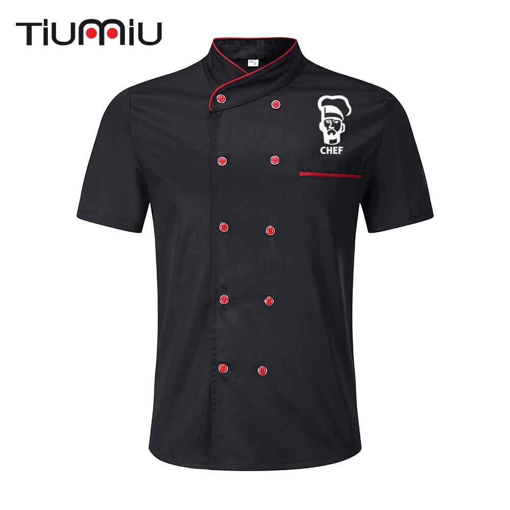 Novelty Chef Print Chef Jacket Short Sleeve Restaurant Kitchen Uniform Waiter Hotel Bakery Food Service Cook Shirt Work Clothes