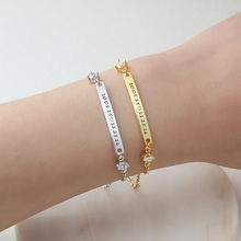 Personalized Gift ID Braceles With Cubic Zirconia