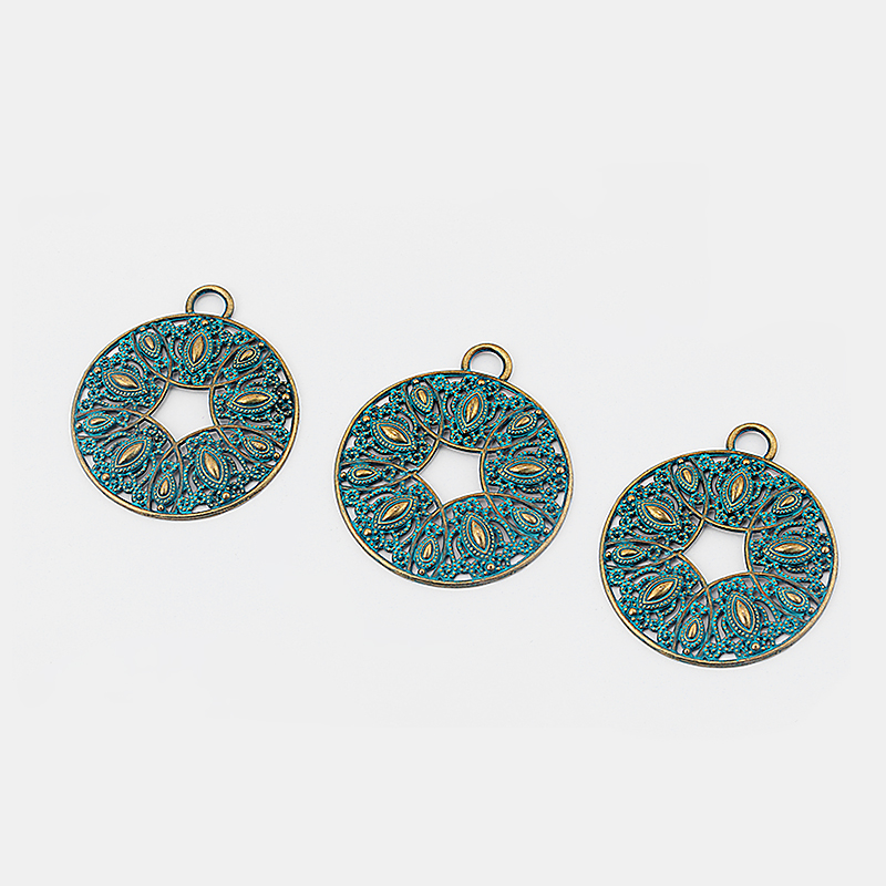 3pcs Fashion Jewelry Verdigris Patina Tibetan Silver Filigree Open Flower Charms Pendant DIY Necklace Accessories 64 64mm in Pendants from Jewelry Accessories