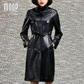 Черный натуральная кожа пальто Из Овчины ветровка Длинное пальто регулируемый талия декор abrigos mujer casaco feminino LT605