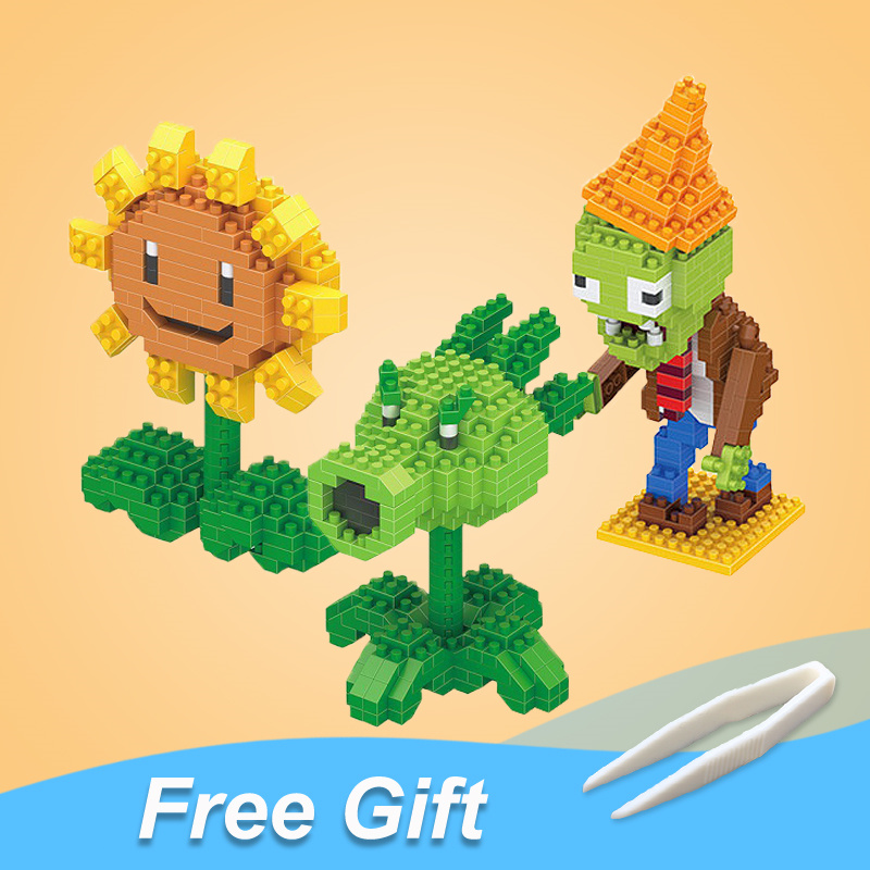 Plants Fight Zombies Peashooter Toys Action Figures Blocks Brick Mini Toy Game Characters Souvenir Gifts For Boys Girls Friends image