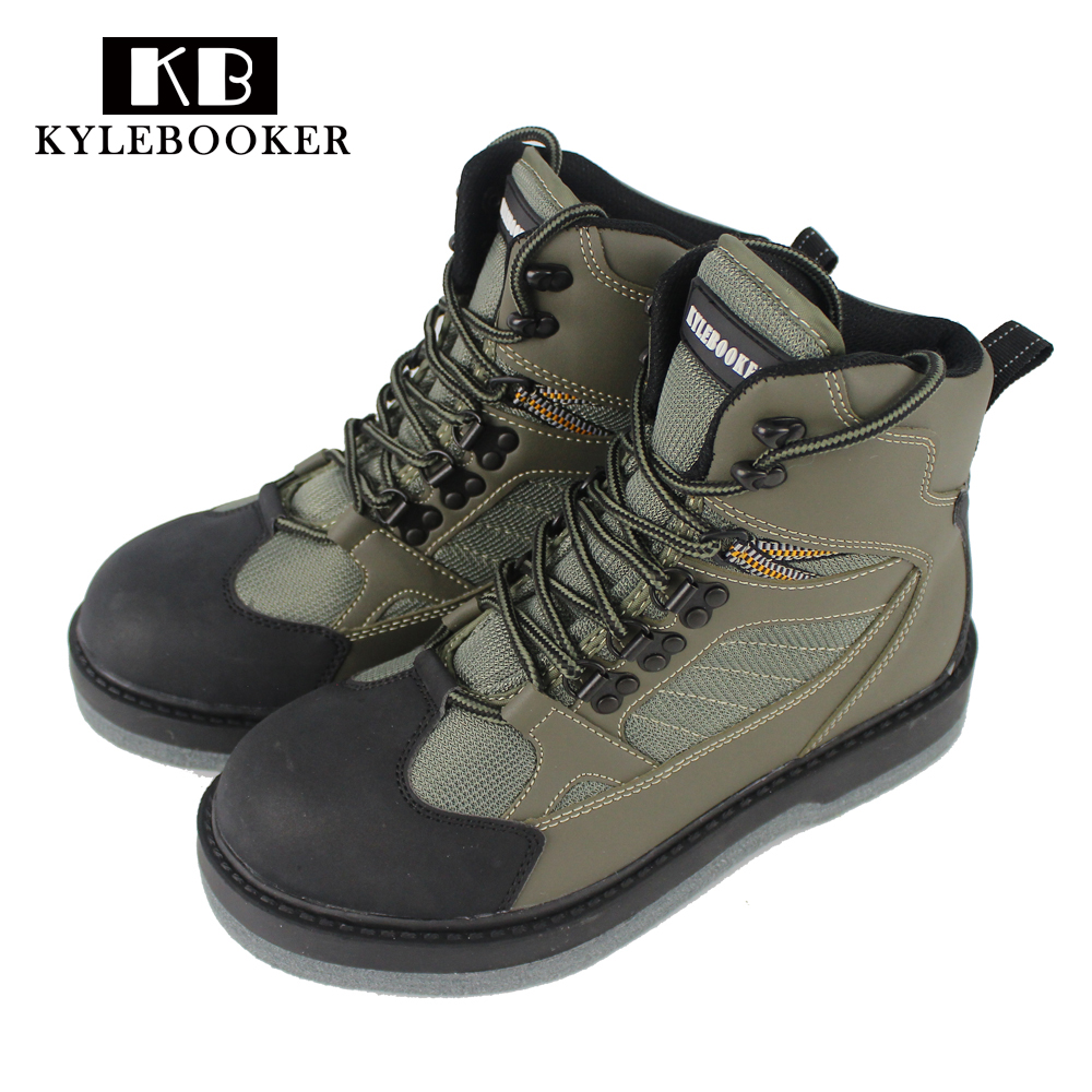 Men's River Fishing Wading Boots Breathable Upstream Shoes Outdoor Anti-slip Fly Fishing Waders Felt Sole Boot