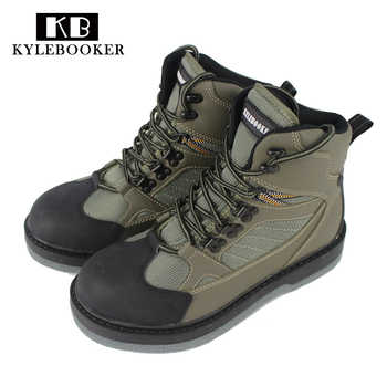 Men\'s River Fishing Wading Boots Breathable Upstream Shoes Outdoor Anti-slip Fly Fishing Waders Felt Sole Boot