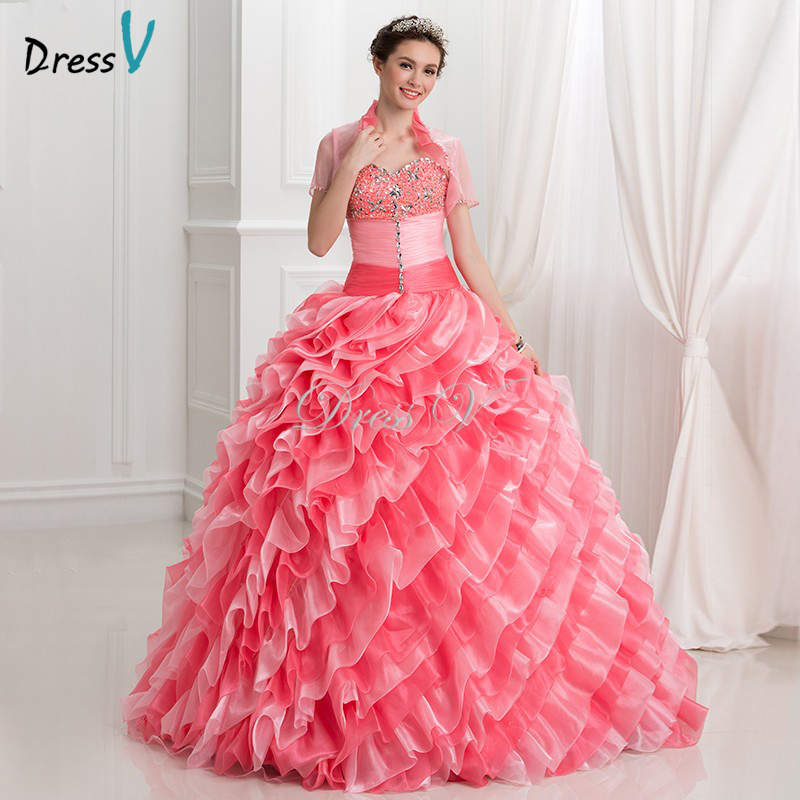 2017 Watermelon Organza Debut Ball Gown 2 Piece Puffy Quinceanera ...