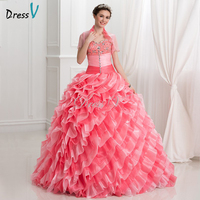 2017 Watermelon Organza Debut Ball Gown 2 Piece Puffy Quinceanera Dresses With Short Sleeve Jacket Beaded Sweet 16 Pageant Dress