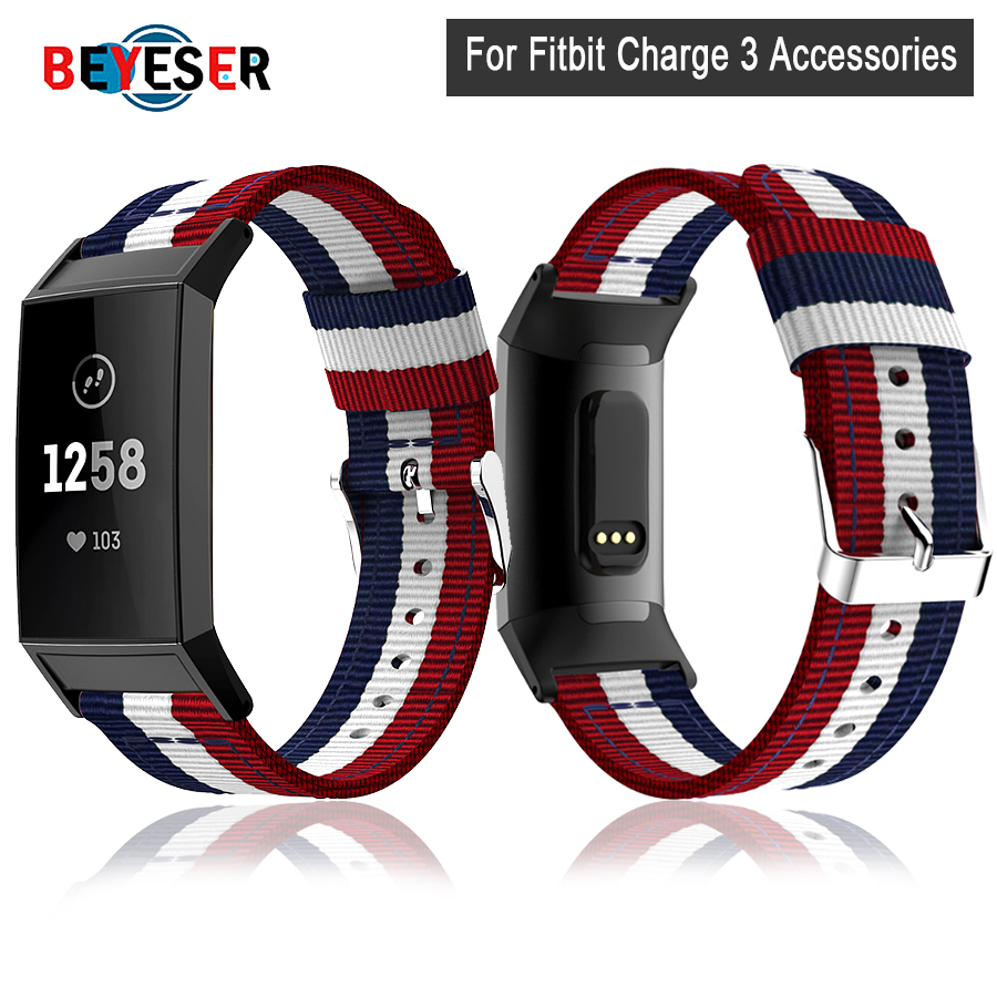 Woven Canvas Fabric Strap For Fitbit Charge 3 Band Replacement Stable Watch Strap For Charge3 Wristband Smart Bracelet Wirst