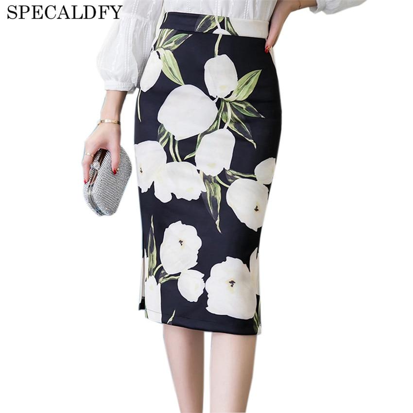 5XL Summer Pencil Skirt Women High Waist Skirts Womens Vintage Elegant Bodycon Floral Print Midi Skirt Plus Size Saia Femme