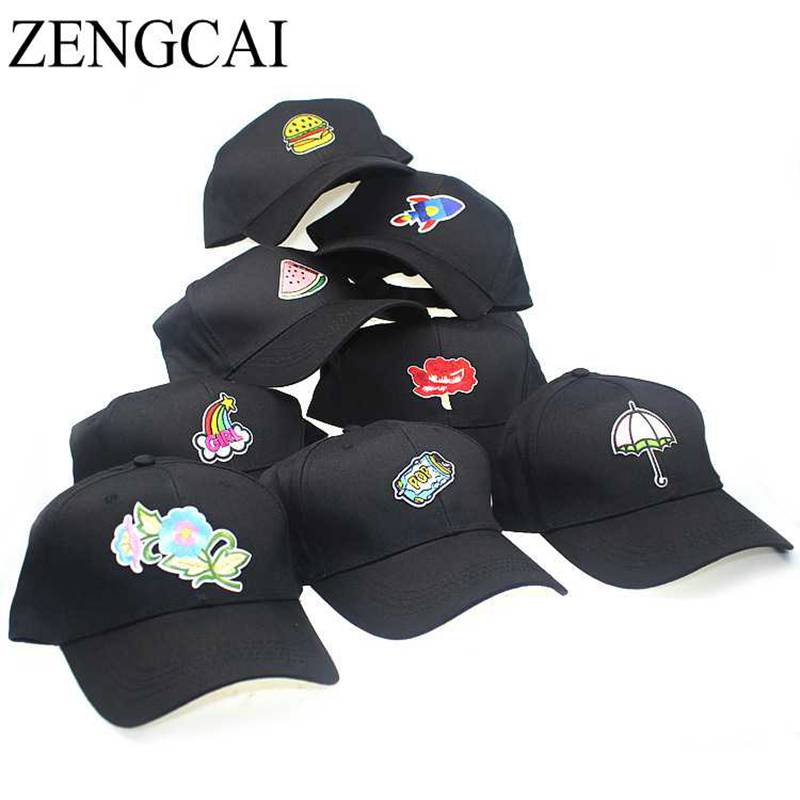 ZENGCAI Harajuku Korean Baseball Cap For Women Men Trendy Embroidered Patch Snapback Hats Caps Cotton Adjustable Bone Casquette 2016 new new embroidered hold onto your friends casquette polos baseball cap strapback black white pink for men women cap