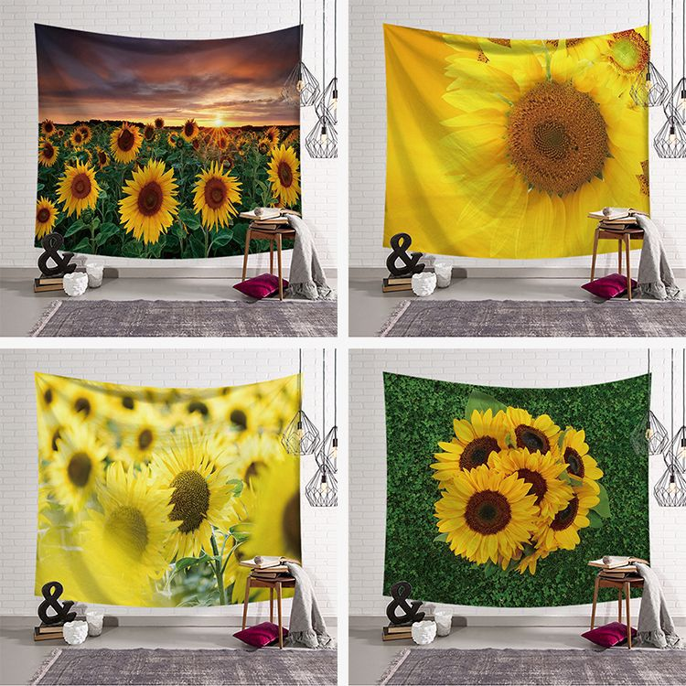 Sunflowers Wall Hanging Cactus Tapestry Green Succulents 3D Flower Art Carpet Blanket Yoga Mat Decorative Tapestry for Home