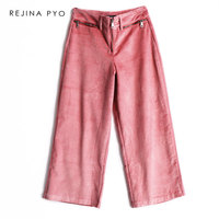 REJINAPYO Women Pink Corduroy Fashion High Waist Wide Leg Pant Female Casual Loose Ankle Length Pant Trousers with Zippers