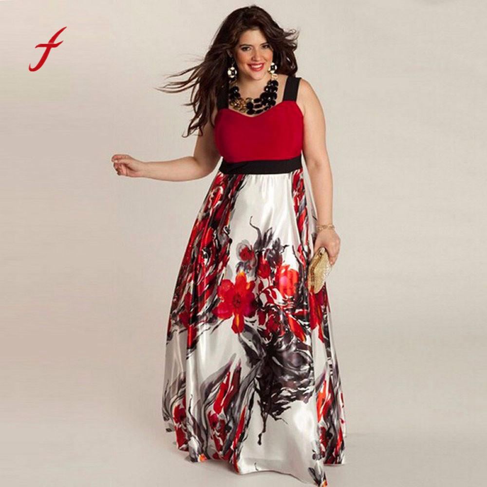 US $10.98 30% OFF|Plus Size Dress Women Vestidos Tops Female Floral Printed  Designer Long Evening Party Prom Gown Formal Dress Sundress Dresses-in ...