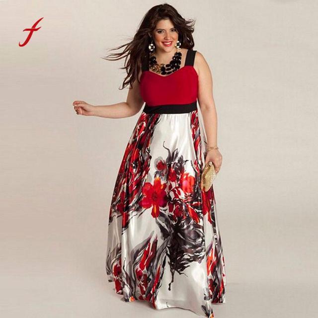 Plus Size Dress Women Vestidos Tops Female Floral Printed Designer