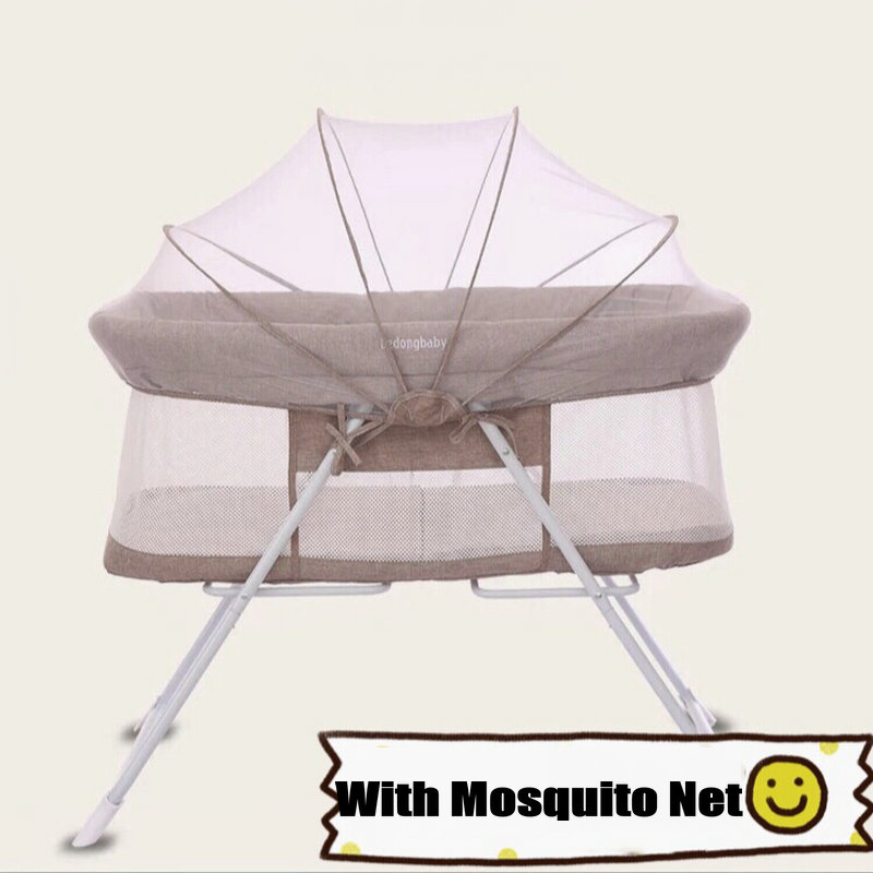 Portable Baby Bed with Mosquito Net Can Convert to Infant Rocking Cradle, Simple Travel Bed, 4.2KG Light Newborn Crib