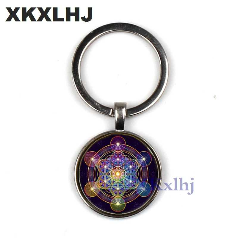XKXLHJ מטטרון קוביית תליון Keychain הקדוש גיאומטריה חיים פרח צ 'אקרה Keychain גבירותיי קסם שישה Keychain
