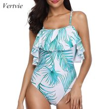 Vertvie 2019 Summer Sexy Women Plus Size One Piece Swimsuit Ruffled Floral Swimwea Suit Sling Strapless Shoulder Beachwear