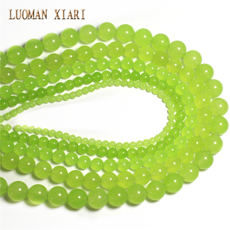10 /12 Mm Strand Chills And Pains Adaptable Wholesale Dye Color Lemon Green Natural White Stone Beads For Jewelry Making Diy Bracelet Necklace 4 /6 /8 Beads