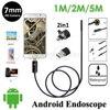 Black 5 5mm Lens 2 In 1 OTG Android USB Endoscope Camera 5M Hard Flexbile Snake