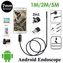 7mm Lens 2In1 Android USB Endoscope Camera 5M 2M 1M Flexible Snake USB Pipe Inspection Android Phone OTG USB Borescope Camera