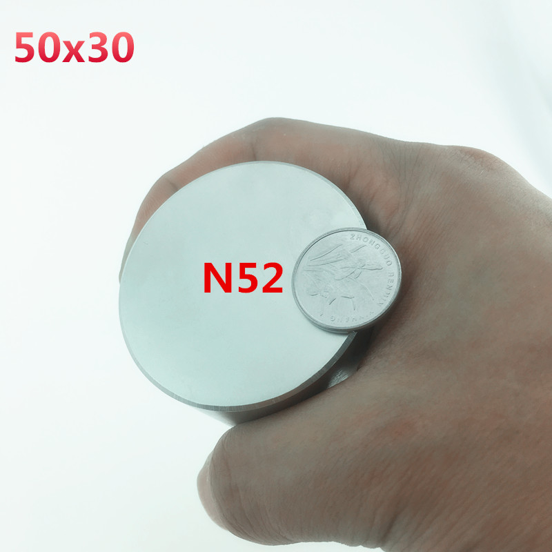 1pcs N52 Neodymium magnet 50x30mm gallium metal super strong magnets 50*30 round Neodimio magnet Powerful  permanet magnet 45x30 qs 3mm216a diy 3mm round neodymium magnets golden 216 pcs