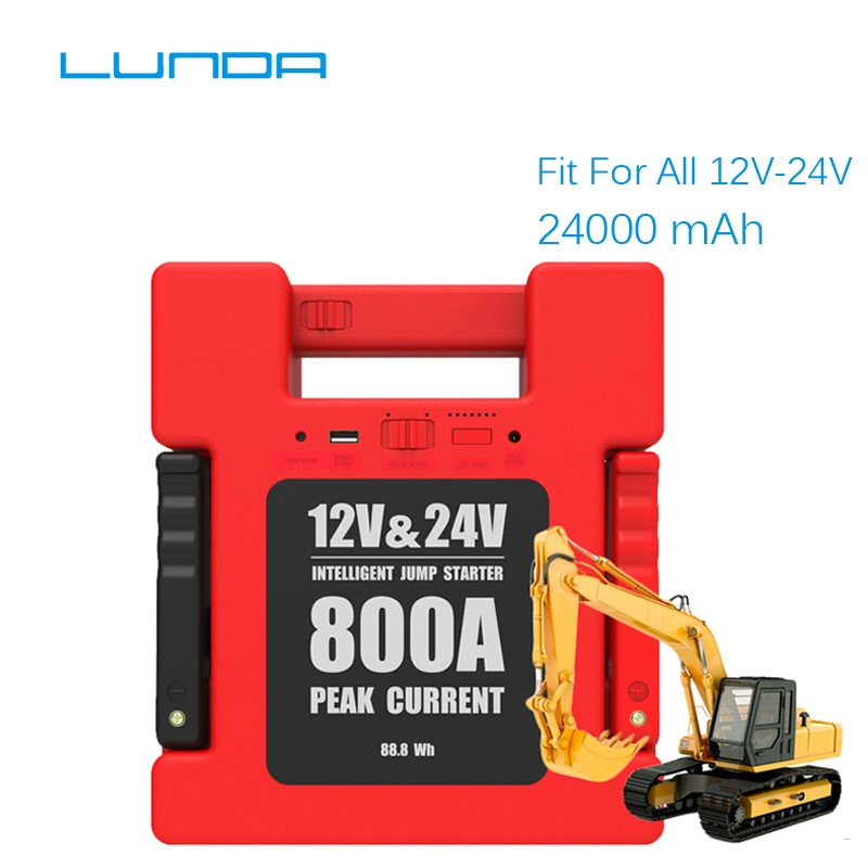 LUNDA 800A Peak 12/24V Vehicle Jump Starter Battery Booster Power Pack ( All Gas or Up to 6L Diesel Engine)power allpower packpower up -