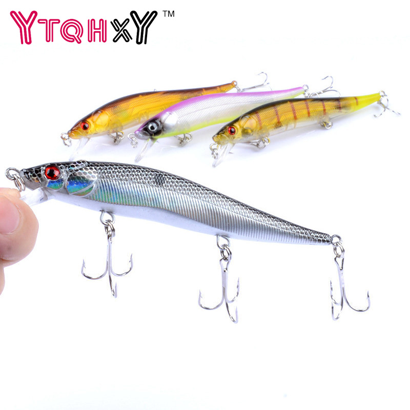 1pcs 11.5cm 13.7g Isca Artificial Hard Bait Pesca Minnow Fishing lures wobbler crankbait with 3 hooks 3D eyes 4 colors YE-66 wldslure 1pc 54g minnow sea fishing crankbait bass hard bait tuna lures wobbler trolling lure treble hook