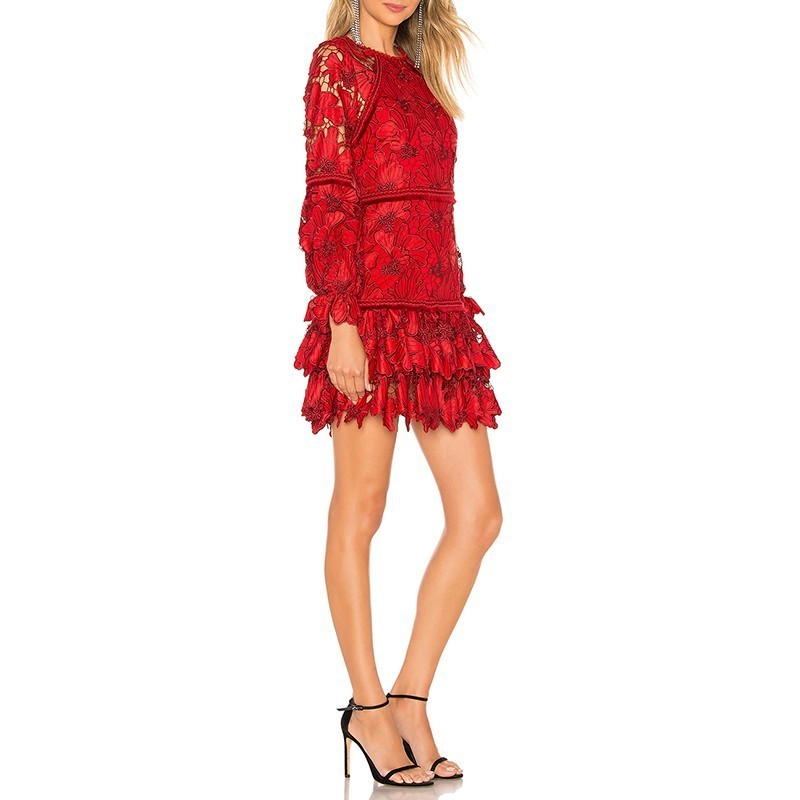 Vintage Vgh Vêtements Rouge Distributeur O Femmes Nourriture Marée Nouvelle Cou Évider 2019 Women'fashion Lanterne Printemps Ourlet De Mince Red Perspective REfqgnWEw
