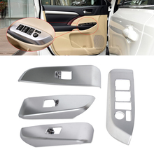 CITALL 4pcs Car Interior ABS Matte Chrome Door Window Switch Console Panel Cover Trim for Toyota Highlander 2014 2015 2016 2017