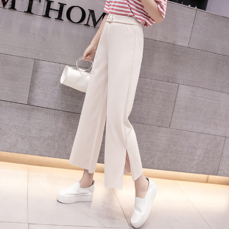 Womem   wide     leg     pants   2019 spring summer female vintage elegant elastic waist chiffon   pant   casual trousers office lady pantalon