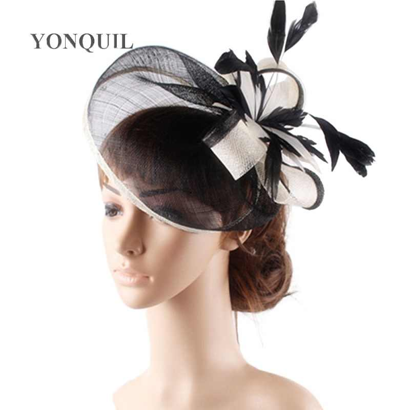 High quality 18 colors select cocktail hats sinamay base with feather flower fascinator hair accessories occasion wedding hats