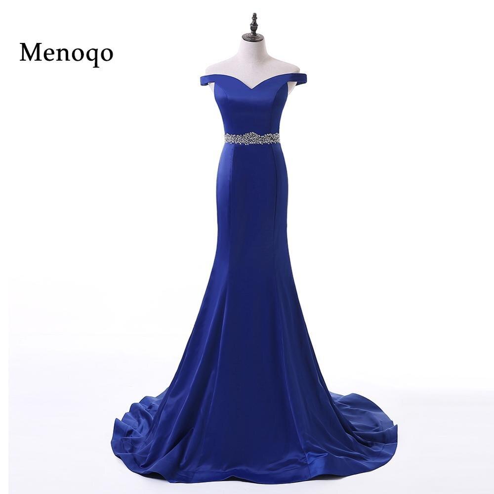 Menoqo Elegant Beaded Royal Blue Mermaid Long   Evening     Dresses   2018 Prom Party   Dress   Robe De Soiree Longue off the shoulder